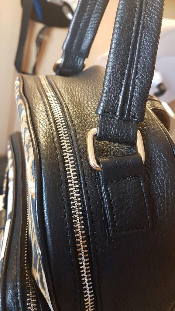 Rucsac de dama negru, cu animal print, din piele naturala
