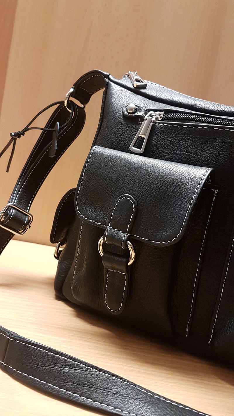 Detaliu de realizare pentru geanta de dama cu buzunare Siri
