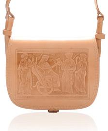 Geanta de piele West Mythology, cu model in relief