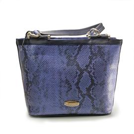 Geanta de dama din piele tip sarpe, culoare albastra, Roca