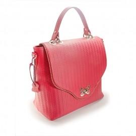Geanta de dama eleganta din piele naturala rosie-roz cu striatii sinusoidale, cu ornamente tip fluturi, Mira