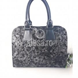 Geanta de dama neagra cu flori gri argintii, eleganta, Lora