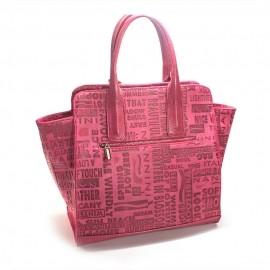 Geanta de dama roz din piele imprimata, Elly