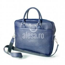 Geanta de laptop bleumarin din piele, unisex, Antonia