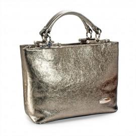 Geanta de dama office, din piele argintie, Lani