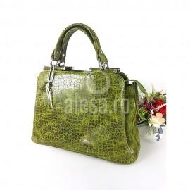 Geanta verde eleganta din piele, Malena