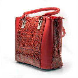 Geanta de dama rosie cu croco grena-negru din piele, Diva
