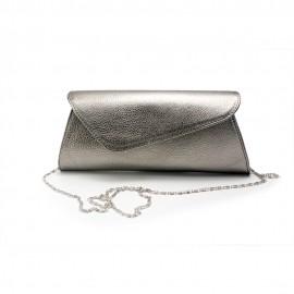 Poseta plic din piele naturala, cu forma asimetrica, argintiu, Olivia