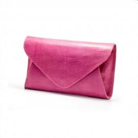 Plicul din piele roz, cu capac triunghiular, Violeta
