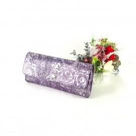 Portofel de dama din piele naturala argintiu cu ape mov, cu flori in relief, Luna