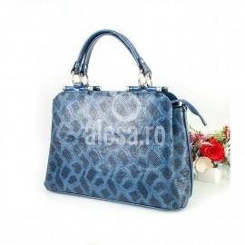 Poseta eleganta din sarpe albastru Malena