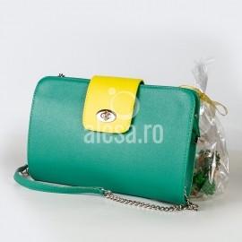 Poseta plic de evenimente, Miranda, verde cu galben