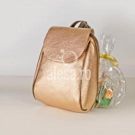 Rucsac de dama auriu rose, cureluse miere-bronz, Rino