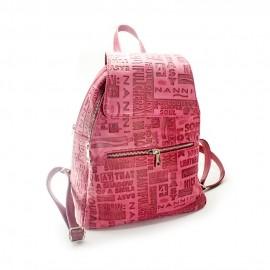 Rucsac de dama rosu din piele tiparita, Mozaic