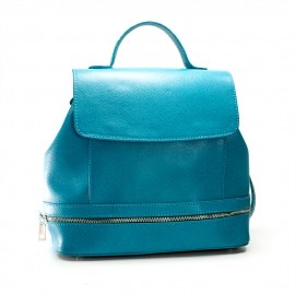 Rucsacul de dama casual albastru turquoise, din piele naturala, Chloe
