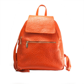 Rucsac de dama din piele naturala Mozaic, portocaliu